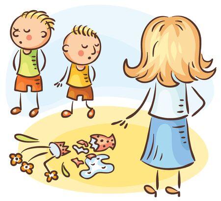 Moeder vraagt wie van de jongens de vaas heeft gebroken