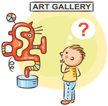 Man is wondering what is exhibited in the art gallery 向量圖像