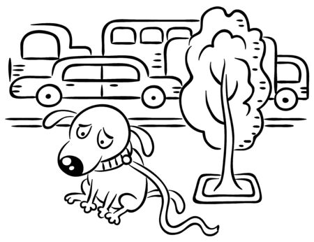 A dog is lost in a busy city street