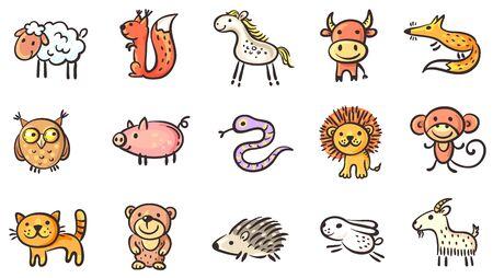 Set of small sketchy animals, vector clipart Ilustração