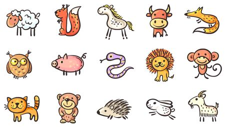 Set of small sketchy animals, vector clipart Illustration