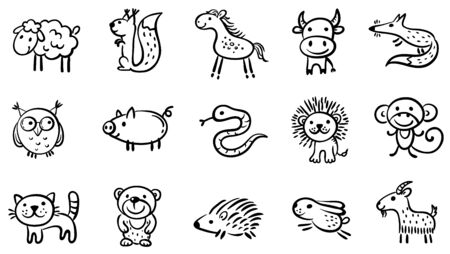 Set of small sketchy animals, outline vector clipart