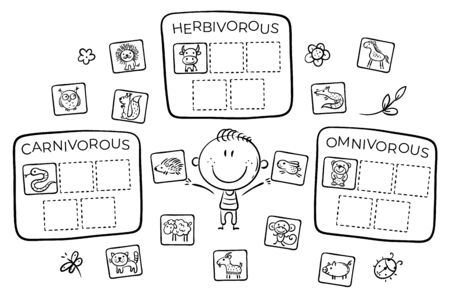 Task for kids, carnivorous, herbivorous and omnivorous animals, outline vector illustration Ilustração