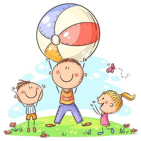 Happy father playing ball with his kids Ilustração