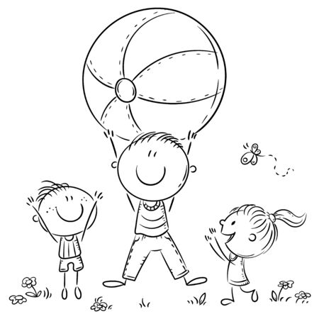 Happy father playing ball with his kids, outline illustration Ilustração
