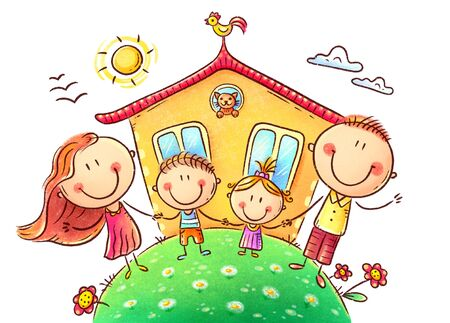 Happy family with two kids near their house, colorful pastel illustration