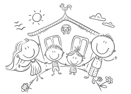 Happy family with two kids near their house, outline digital illustration
