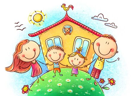 Happy family with two kids near their house, colorful pastel drawing Imagens