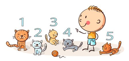 Child counting cats and learning numbers, colorful illustration