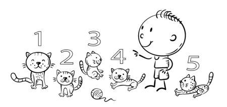 Child counting cats and learning numbers, outline illustration