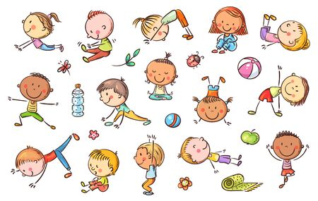 Yoga kids set, vector cliparts y doodle drawings