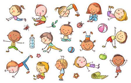 Zestaw dla dzieci jogi, kliparty wektorowe, rysunki doodle doodle