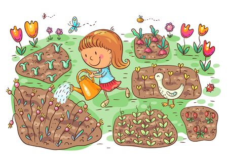Child watering flowers and vegetables in the garden, vector illustration