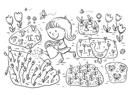 Child watering flowers and vegetables in the garden, outline vector illustration
