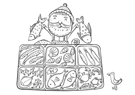 Fisherman selling his catch at the fish market, outline illustration Ilustracja