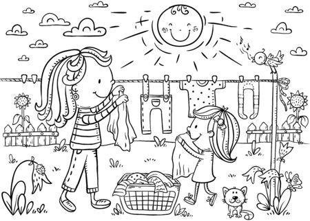Little girl helping her mother to hang out the linen outdoors on a summer day, black and white illustration