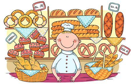Karikaturbäcker, der Brot und Brötchen in der Bäckerei verkauft