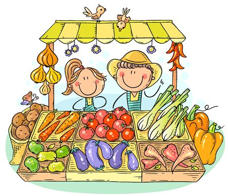 Farmers selling organic vegetables at the market, vector drawing