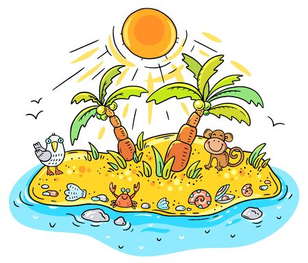 Small cartoon tropical island with palms and animals, drawing illustration