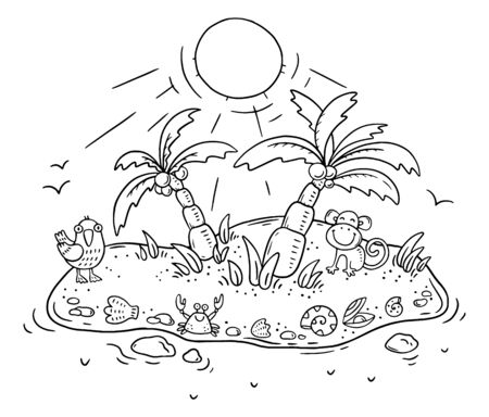 Small cartoon tropical island with palms and animals, coloring page