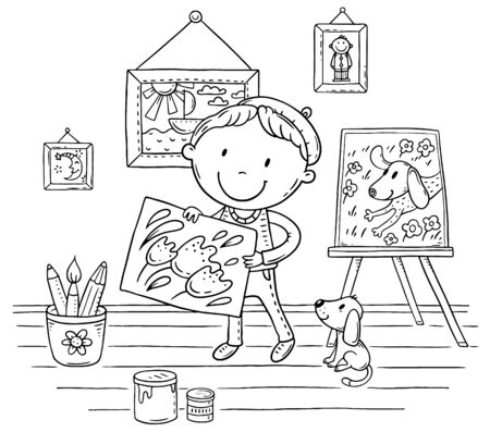 Little painter with his puppy and pictures, coloring page 向量圖像