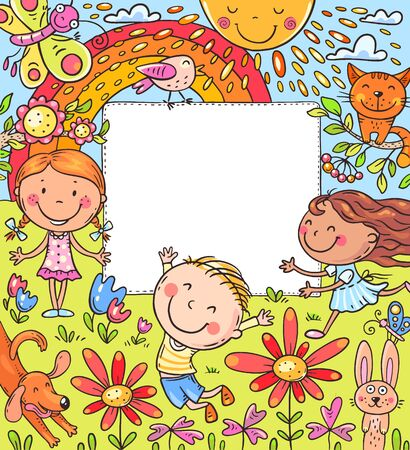 Cartoon frame with happy kids and a blank space, colorful illustration