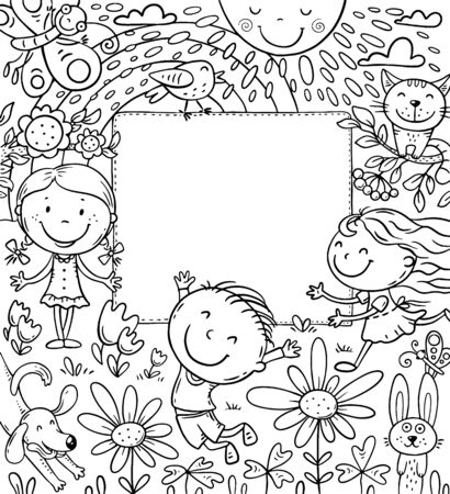 Cartoon frame with happy kids and a blank space, coloring page 向量圖像