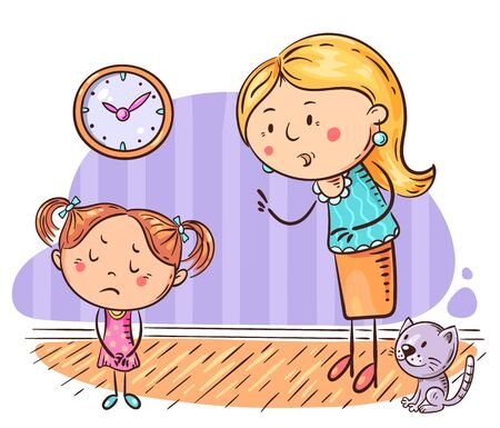 Mother scolding her upset daughter, vector cartoon illustration 向量圖像