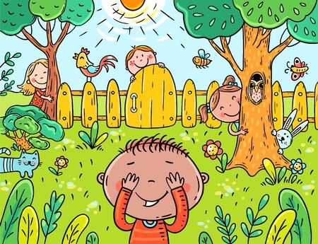 cartoon children playing hide and seek in the garden, vector illustration