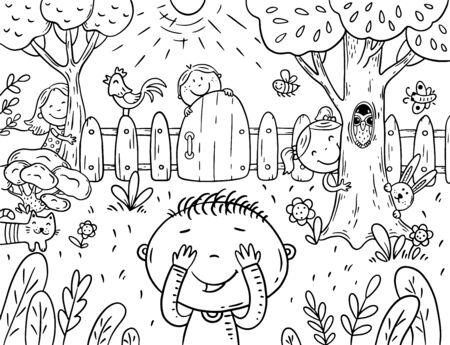cartoon children playing hide and seek in the garden, coloring page, vector illustration