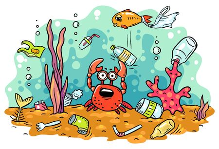 Sea animals suffer from ocean pollution with plastics, ecology and environment concept