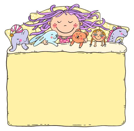 Little girl sleeping with her toys, the blanket being a blank frame with a copy space