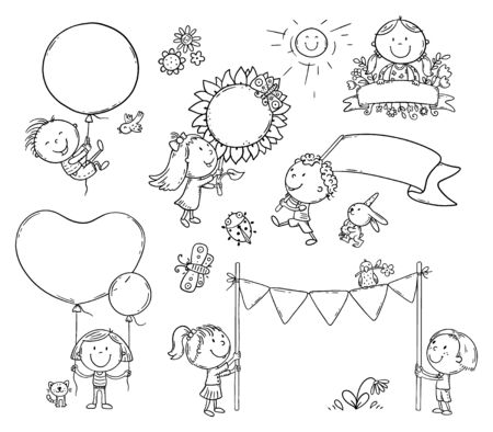 Set of cartoon kids with signs, flags and balloons with copy space, vector clipart