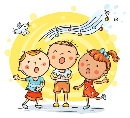 Kids singing together, variant with cartoon hands, colorful vector illustration