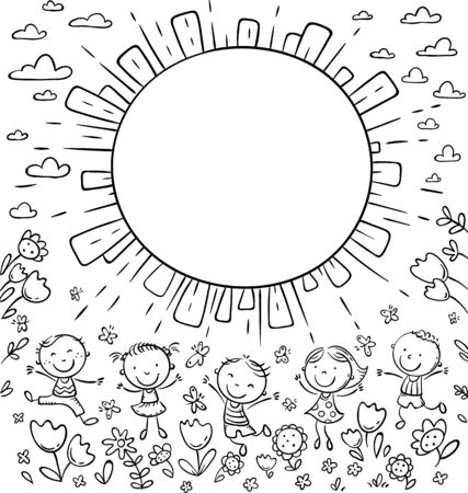 Sun frame with happy doodle kids and a round copy space, outline vector illustration