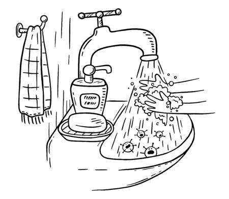 Handwashing with soap or hand hygiene helps to prevent infections and avoid germs and viruses, outline vector illustration