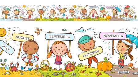 Children with months signs and changing weather and seasons, a long horizontal border or frame