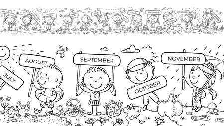 Children with months signs and changing weather and seasons, a long horizontal border or frame, coloring page