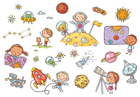 Cartoon space and astronauts set, vector cliparts for kids 向量圖像