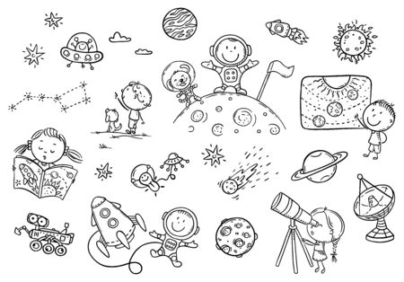 Cartoon space and astronauts set, coloring page for kids