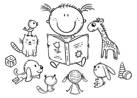Little girl reading to toys or playing school, coloring page