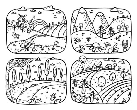 A set of four black and white cartoon landscapes which can be used as coloring pages 向量圖像