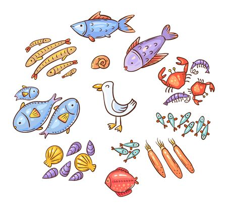 Set of cartoon doodle seafood or ocean animals like fish, shrimps and squids, vector illustration