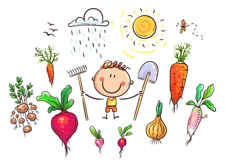 Farmer's life set including vegetables, tools, weather conditions and even some pests, colorful vector illustration 向量圖像