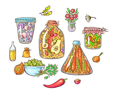 A set of cartoon pickled or marinated vegetables and spices Çizim