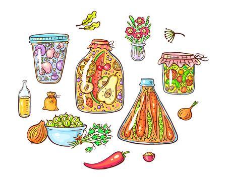 Un ensemble de légumes et d'épices marinés ou marinés de bande dessinée