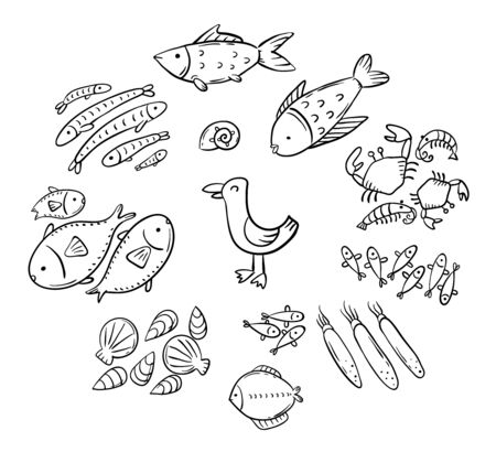 Set of cartoon doodle seafood or ocean animals like fish, shrimps and squids 向量圖像