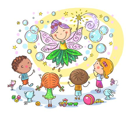Fairy at the kids birthday party, clipart illustration