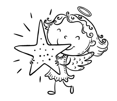 Little girl in an angel costume holding a star, coloring page