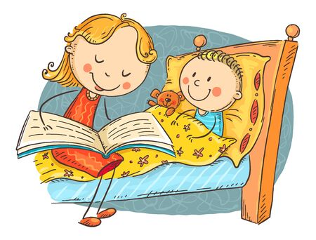 Bedtime story, mother reading to child, colorful cartoon illustration  イラスト・ベクター素材